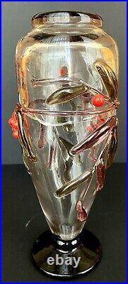 André DELATTE vase Art nouveau Art déco aux baies rouges appliquées à chaud