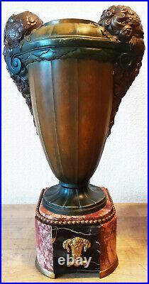 Art Deco Art Nouveau Amphores En Regule Polychrome Marbre Griottes Et Portor 7kg