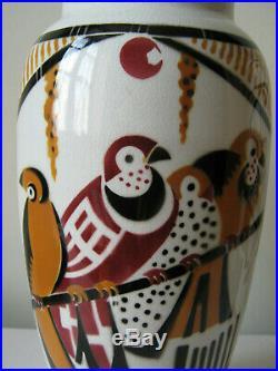 Art Déco Paire d'anciens vases Bagdad K&G Lunéville France, décor d'oiseaux