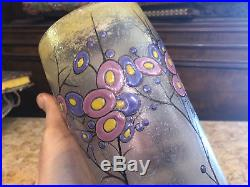 Art Deco Vase en Verre émaillé Vers 1930 Antique French Glass