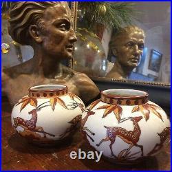 Art deco Paire Vase ceramique Craquelé DLG(catteau Chevalier) La Louviére
