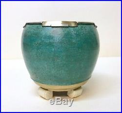 Art-déco/Vase Boule Moderniste Dinanderie Cuivre Argent Os/Fernand Grange/1925