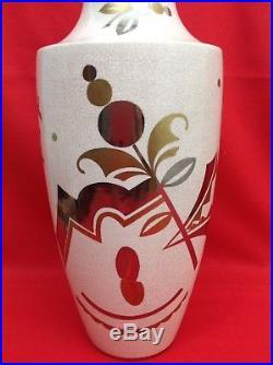 Atelier ASCH Faïencerie SAINTE-RADEGONDE Superbe vase craquelé Art Déco C. 1925