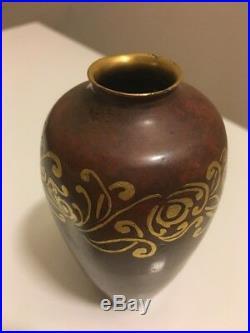 Auguste Delaherche Christofle Rare Vase Art Deco En Dinanderie