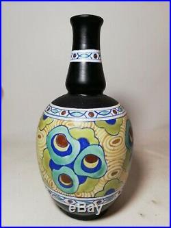 Authentique vase BOCH keramis D883, Art Déco, polychrom design, Belgium