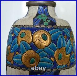 BEAU VASE LONGWY ART DECO Hauteur 34 cm