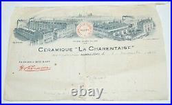 BELLE PAIRE de GRANDS VASES ART DECO CERAMIQUE LA CHARENTAISE NO RENOLEAU 1930