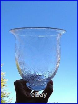 Baccarat Fontenay Vase Roses Crystal Cristal Gravé Art Deco George Chevalier