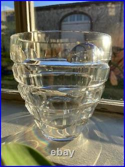 Baccarat Signé Superbe Vase Cristal Taillé Art Deco Modernisme Très Sobre