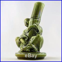 Barbotine MAJOLICA SARREGUEMINES Vase Sculpture CHINOIS Vert Art Nouveau/déco
