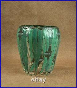 Beau Petit Vase Art Deco En Verre Emaille Signé André Mazoyer Vers 1920