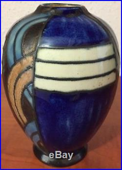 Beau Vase Art Deco Signe Hb Quimper Odetta 452-1097