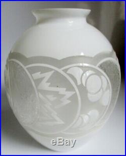 Beau Vase Art déco 1930 verre multicouche gravé à l'acide, Muller Delatte
