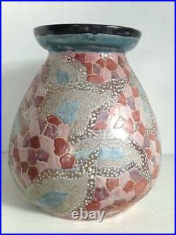 Beau Vase Emaillé décor Géométrique signé Mazoyer Art deco