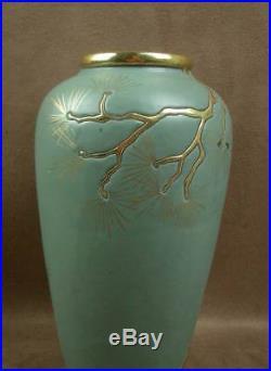 Beau Vase En Ceramique Art Deco Nouveau Decor D'emaux Japonisant Signe Montieres