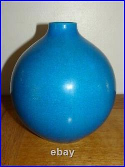 Beau Vase La Louvière Boch Keramis Bleu Turquoise Craquelé début XXème Art Déco