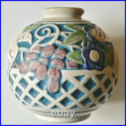 Beau Vase boule Grès Art Déco Mougin Nancy et Ventrillon émail mat N°264J