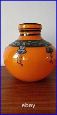 Beau vase décor émaillé signé DELATTE NANCY art déco