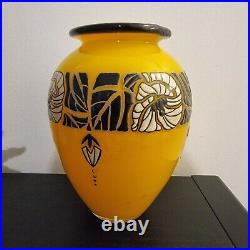 Beau vase pâte de verre décor émaillé signé DELATTE NANCY art déco