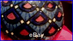 Bel ancien gros vase boule poterie paul jacquet savoie artistique art deco email