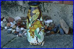 CHARLES CATTEAU Beau et grand vase décoré d'oiseaux Keramis -Epoque Art Deco