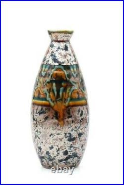 C Tharaud Limoges vase oblongue effet marbré motif relief french vase art déco