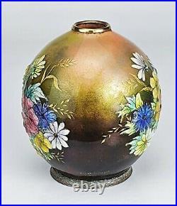 Camille Fauré Limoges Rare Vase Fleurs des Champs Modèle Jack Emaux Art Déco
