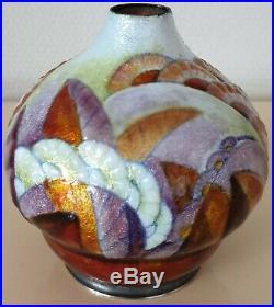 Camille Fauré Limoges Vase Émaillé Art Déco