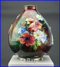 Camille Fauré à Limoges Vase Émaillé Fleurs des Champs Art Déco Émaux d'Art