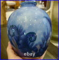 Camille Tharaud, Vase Art Déco Aux Fougères Bleu, Porcelaine De Limoges