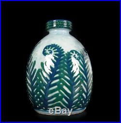 Camille Tharaud beau vase de fougères en vert Limoge art-déco vers 1930 H27cm