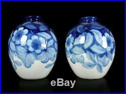 Camille Tharaud paire de vases fleurs et feuillages Limoge art-déco c1930 H28cm