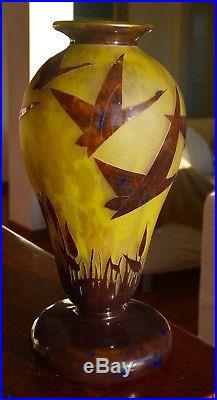 Ch. Schneider Le Verre Français Grand Vase Halbrans Art Déco 1924-27