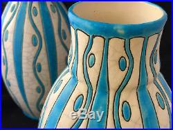 Charles Catteau La Louvière Belgique Art Deco Vers 1930 Paire de Vases