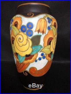 Charles Catteau Leon Delfant Vase Boch Freres Keramis Geometrique Fleur C1334