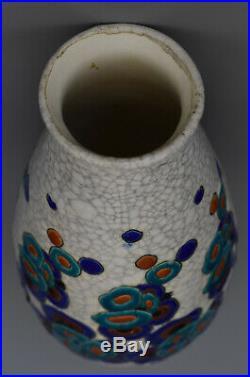 Charles Catteau Vase Art Deco Faïences émaillées craquelées Boch Frères