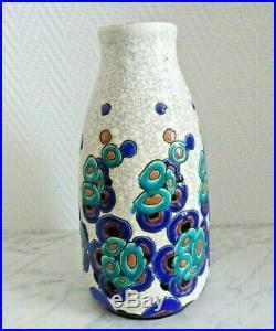 Charles Catteau vase Art Déco décor de fleurs Boch Frères 21529