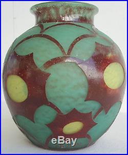 Charles SCHNEIDER Vase Boule Signe CHARDER Circa 1930 modele COSMOS Art Deco