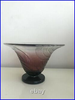 Charles Schneider Superbe Signe Vase en Verre Fume Art Deco Glass Vase