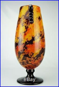 Charles Schneider Vase Marbrines Avec Applications Pâte de Verre Art Déco daum