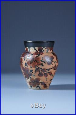 Ciboure Vilotte Grès vase a décor de fleurs Art Déco vase céramic
