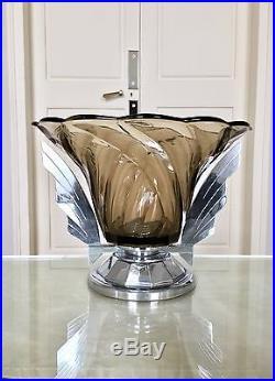 Coupe Art Déco en Chrome et Verre fumé Décoration Vase Table Décoration