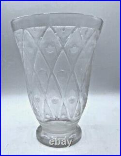 DAUM-NANCY Vase art deco dégagé à l'acide décor de losanges et points muller