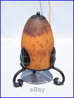 DAUM Nancy Grande VEILLEUSE en Pâte de Verre Fer Forgé Lampe ART Déco vase