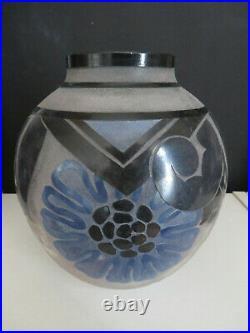 DAUM Vase roses stylisées (ART DECO)