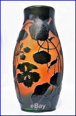 D'ARGENTAL Paul Nicolas Grand & Gros Vase Pâte de Verre Gravé Art Déco gallé30cm