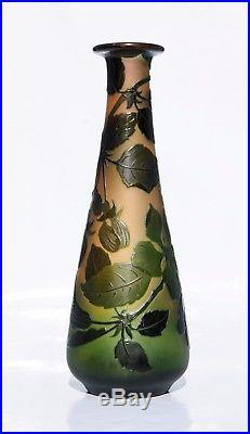 D'ARGENTAL Paul Nicolas Sublime Vase en Pâte de Verre Gravé Art Déco gallé