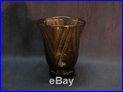 Daum Art Deco / 30 Vase Cornet Ambre Decor Geometrique Degage A L'acide
