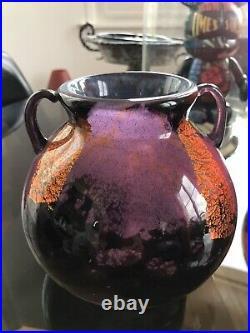 Daum Nancy Croix Lorraine Rare Vase Boule Art Deco Circa 1920 Pate Verre Ancien