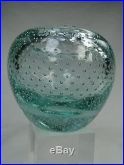 Daum # Nancy France Vase Boule En Verre Bulle Art Deco 1930 Couleur Vert D'eau